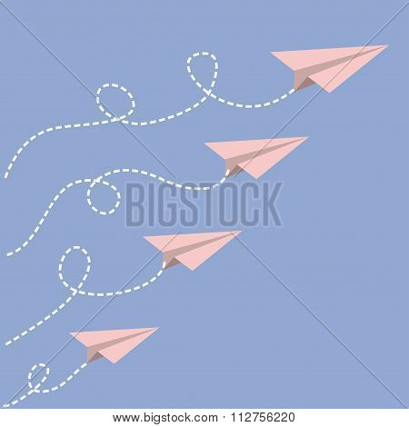 Origami Paper Plane Set . Dash Line Loop In The Sky. Love Card. Flat Design. Serenity, Pink Rose Qua