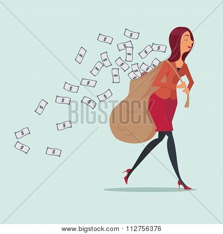 Young woman in casual carrying heavy money bag.