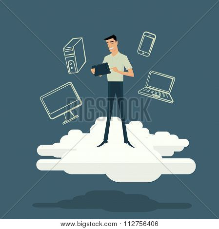 Cloud computing internet concept with tablet smartphone.