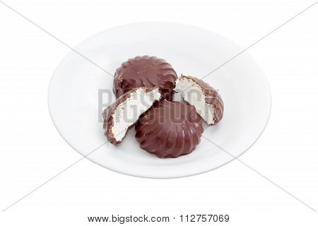 Zefir Glazed By Chocolate On A White Dish