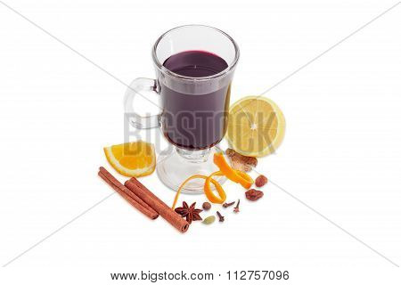 Cup Of Mulled Wine And Mulling Spices On Light Background