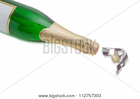 Wine Bottle Stopper And Sparkling Wine On A Light Background