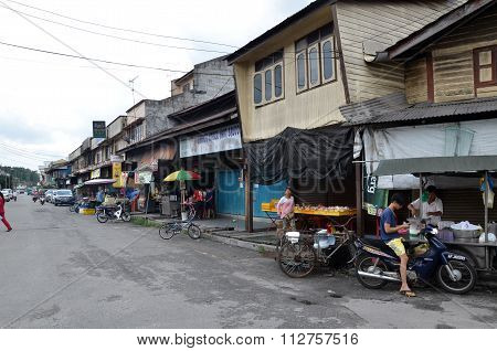 A Streetscape View Of Buildings In Sungai Siput, Malaysia