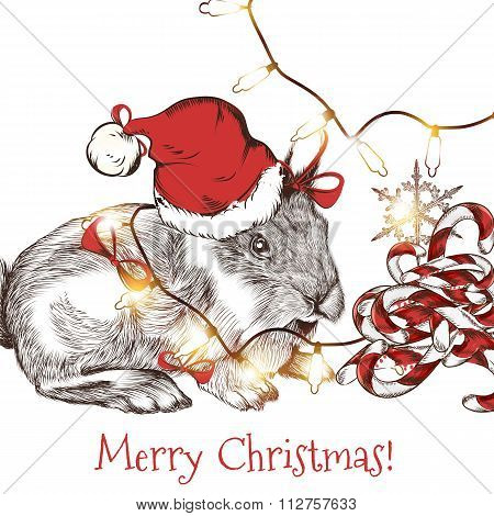 Greeting Card With Cute Hare In Santa Hat With Garlands And Candies