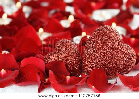 Two Valentines Day Hearts And Candles