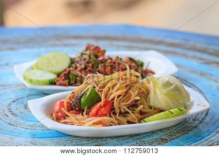 Papaya Salad With Thai Cuisine Spicy Pork Salad