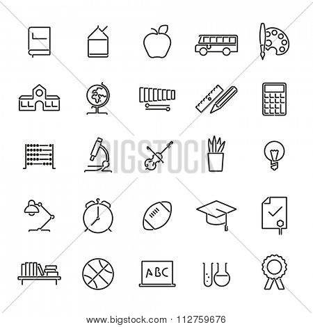 Education Line Icons Set. Collection of twenty five education, school, college and university related black line icons