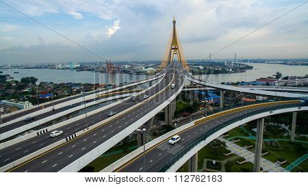 Aerial View Of Bhumiphol Bridge Crossing Chaopraya River Important Modern Landmark Of Bangkok Thaila