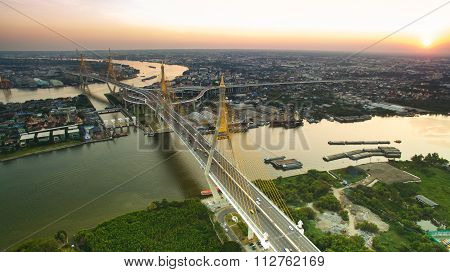 Aerial View Of Bhumibol 1,2 Bridge Important Landmark Of Bangkok Thailand Capital In Land Transporta