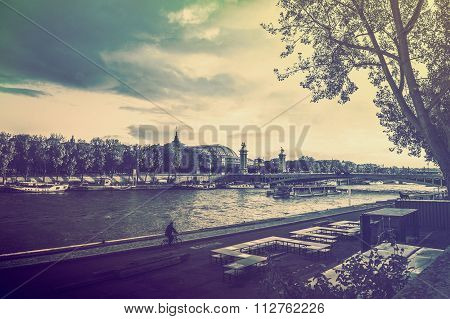 France Background Seine River Winter Old