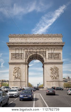 Paris, France - April 15, 2015: The Arc De Triomphe, On April 15, 2015 In Paris, France. The Most Fa