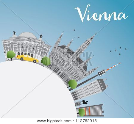 Vienna Skyline with Gray Buildings, Blue Sky and Copy Space. Vector Illustration. Business Travel and Tourism Concept with Historic Buildings. Image for Presentation, Banner, Placard and Web Site.