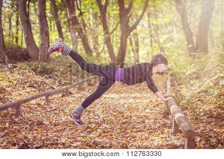 Fitness Woman Training In The Fores, Workout. Concept Sport Healthy Lifestyle