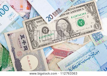 Different Banknotes. World Paper Money Background