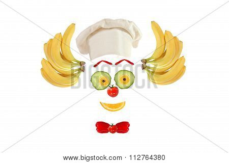 Clown Face Made Of Fruits And Vegetables
