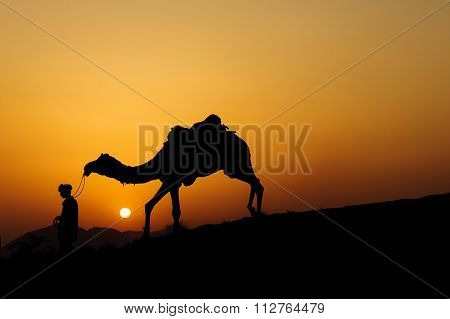 Silhouette of the Camel Trader crossing the sand dune during sunset at Sunset Point Pushkar India.
