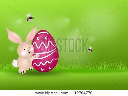 Easter Rabbit On Grassy Background