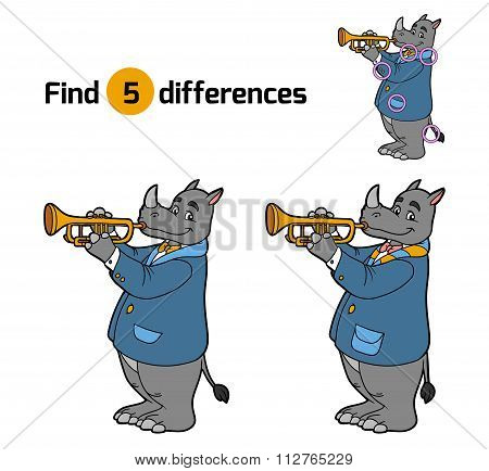 Find Differences, Game For Children (rhino And Trumpet)