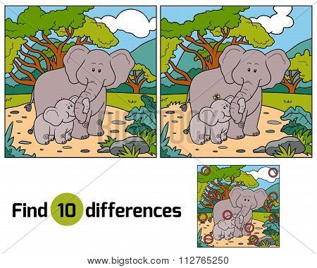 Find Differences, Game For Children (two Elephants)