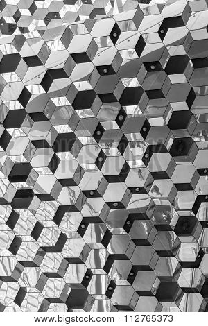 An Interior View of the mirrored ceiling Of The Harpa Concert Hall And Conference Centre