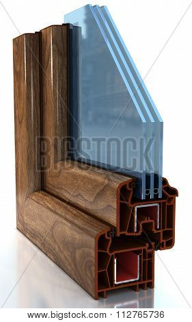 Section of the sample PVC windows  isolated on white