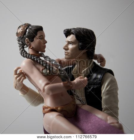 BLOOMFIELD NJ - DEC 26, 2015: Star Wars Han Solo and Princess Leia Hasbro Black Series figures embrace in a love concept. They are famous for the quotes: I Love You, I Know.