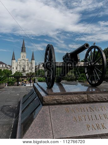New Orleans Saint Louis Cathedral with Cannon