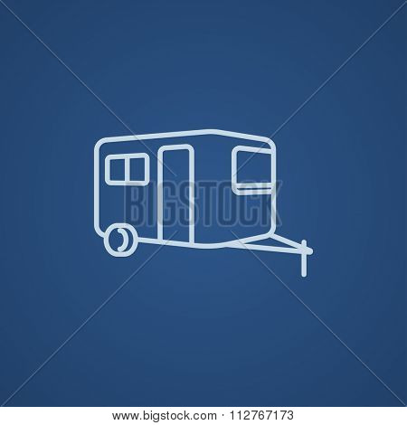 Caravan line icon for web, mobile and infographics. Vector light blue icon isolated on blue background.