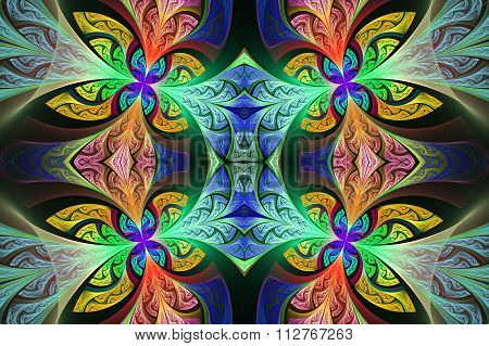 Multicolored Symmetrical Flower Pattern In Stained-glass Window Style. You Can Use It For Invitation