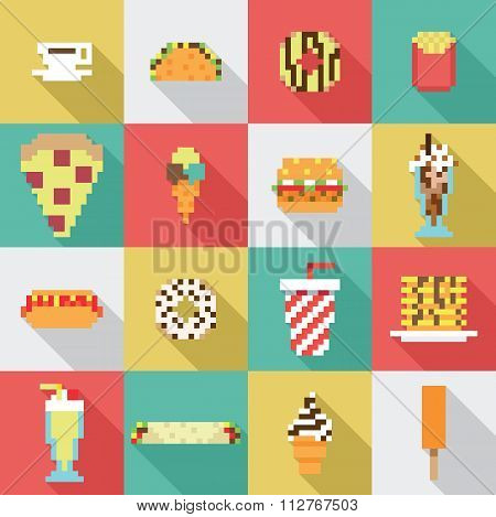 Seamless collection, pixel, vintage, diner food pattern in vector