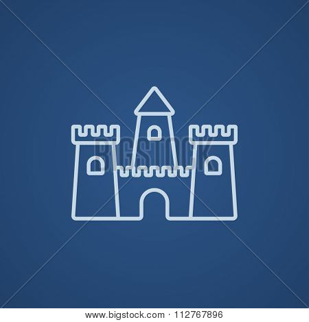 Sandcastle line icon for web, mobile and infographics. Vector light blue icon isolated on blue background.