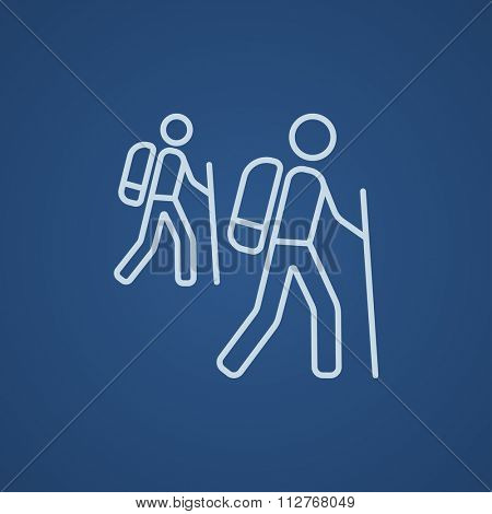 Tourist backpackers line icon for web, mobile and infographics. Vector light blue icon isolated on blue background.