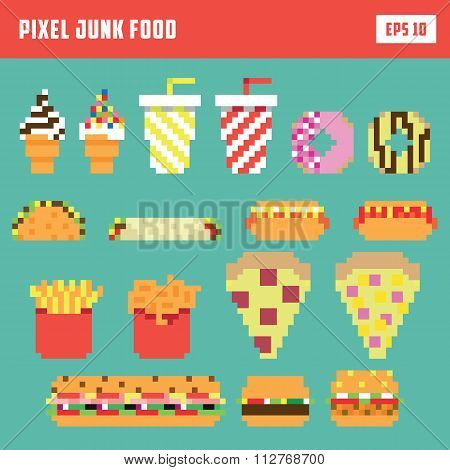 Pixel fast food set, isolated vector icon set