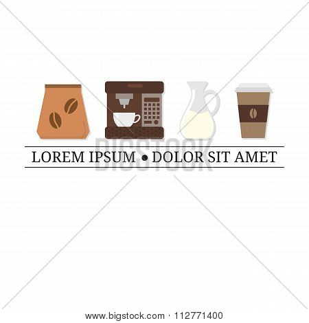 Flat coffee icons with tag line.