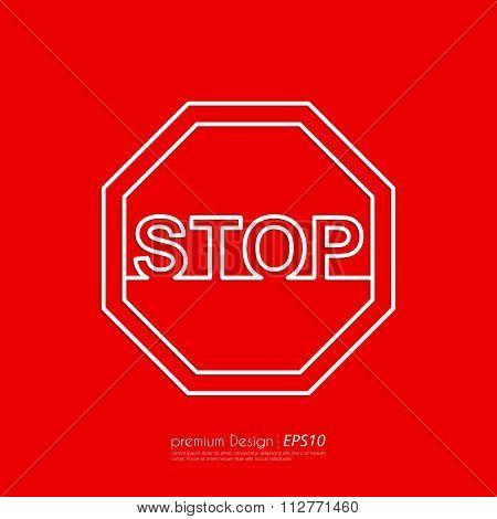 Vector illustration Line stop sign.