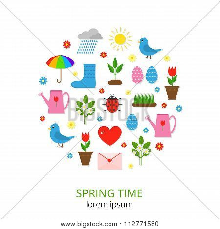 Colorful spring icons in circle.