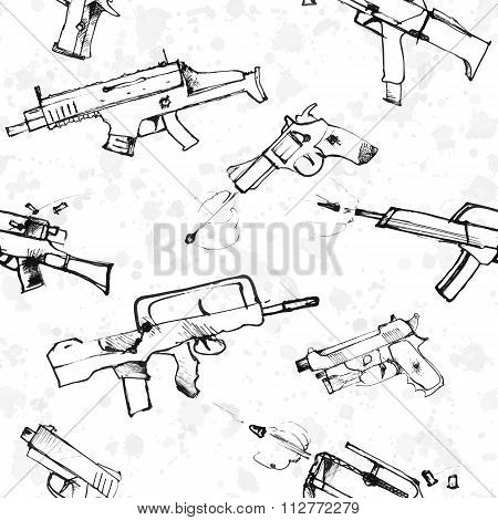 Seamless pattern of hand drawn weapons.