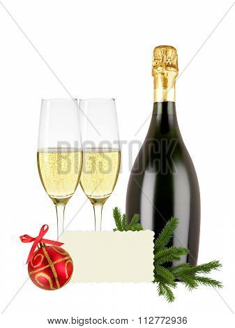 Glasses Of Champagne, Bottle, Greeting Card And Red Christmas Ball And Tree Branch Isolated On White