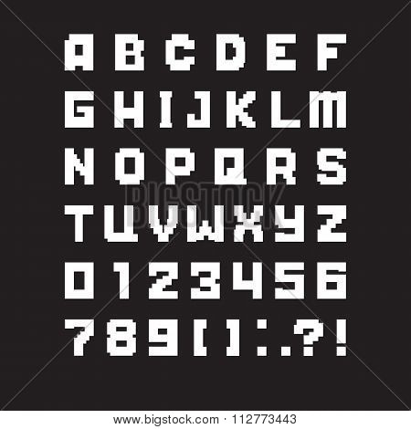 pixel letters of latin alphabet. vector illustration