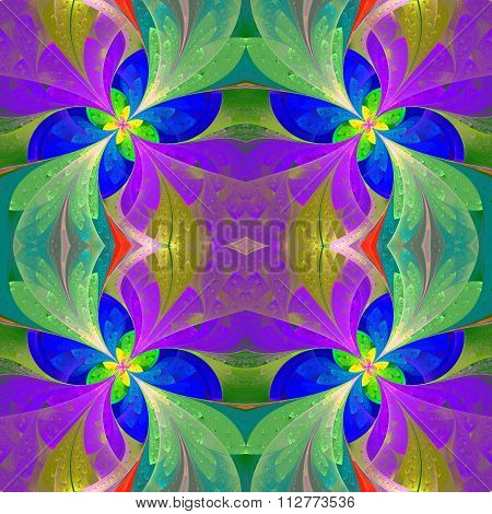Multicolored Beautiful Symmetrical Pattern In Stained-glass Window Style.