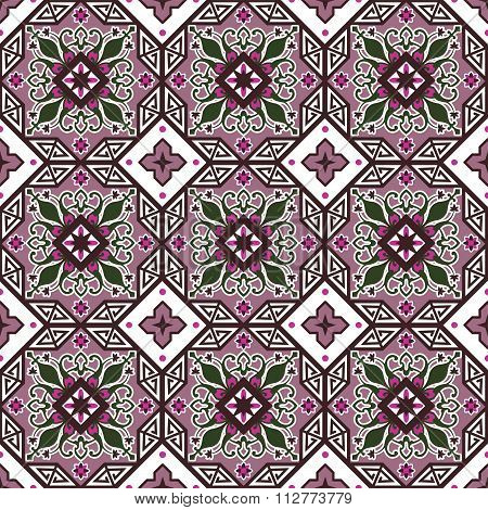 Seamless background image of vintage purple octagon geometry flower kaleidoscope pattern.