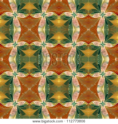 Beautiful Symmetrical Pattern In Stained-glass Window Style.