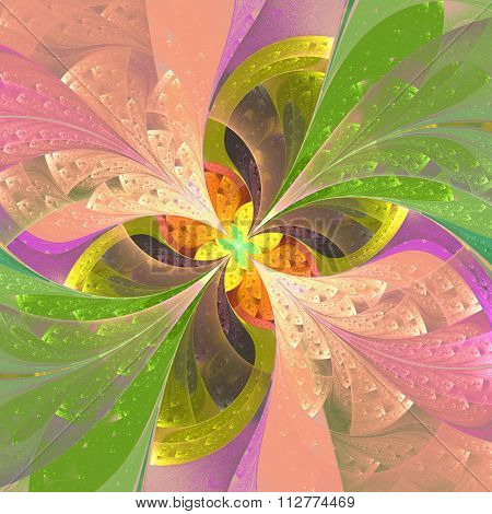 Beautiful Diagonal Fractal Flower In Stained-glass Window Style