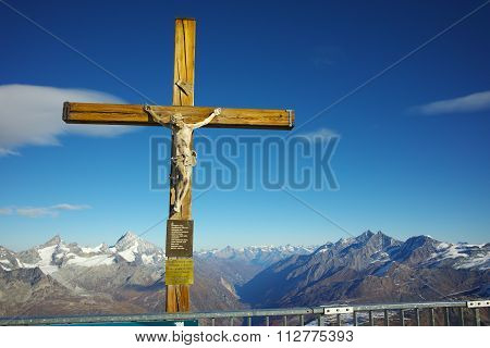Crucifixion on matterhorn glacier paradise near Matterhorn Peak, Alps