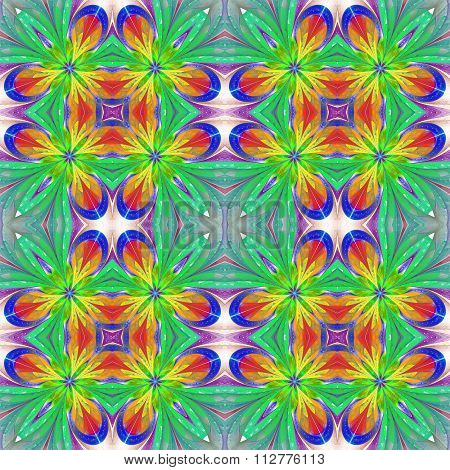 Multicolored Symmetrical Pattern In Stained-glass Window Style On Light.