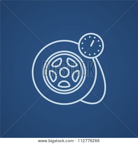 Pressure gauge tyre  line icon for web, mobile and infographics. Vector light blue icon isolated on blue background.