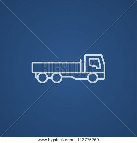 Dump truck line icon for web, mobile and infographics. Vector light blue icon isolated on blue background.