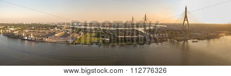 Panorama View Of Bhumibol Bridge Crossing Chaopraya River  Important Transportation Landmark In Bang