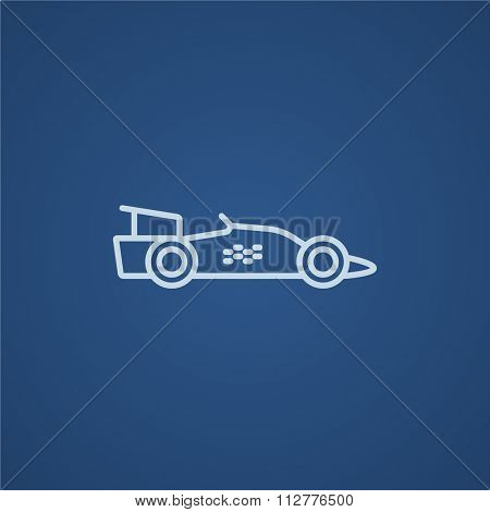 Race car line icon for web, mobile and infographics. Vector light blue icon isolated on blue background.