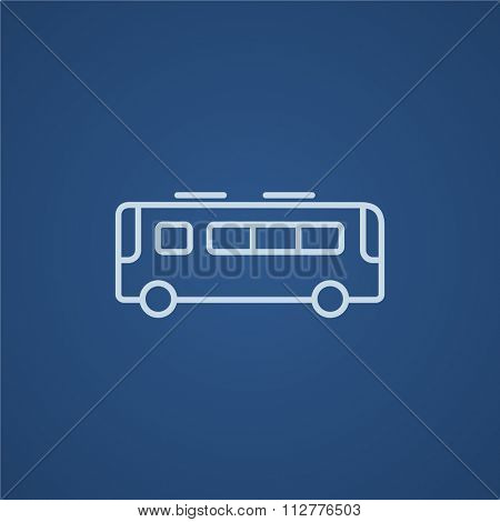 Bus line icon for web, mobile and infographics. Vector light blue icon isolated on blue background.